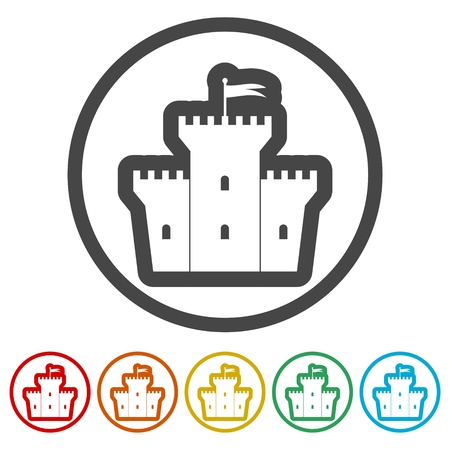 Castle icon, Vector castle icon, 6 Colors Included Illustration