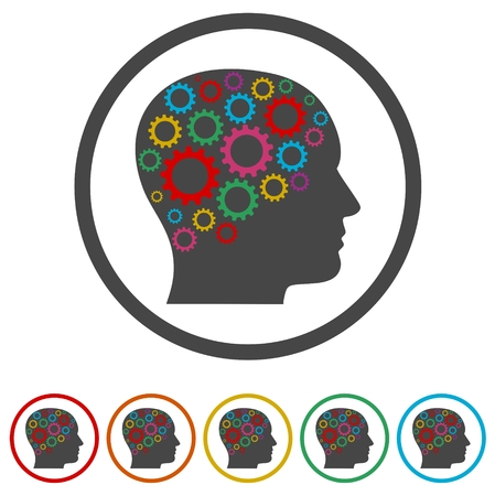 Head with gears concept, Vector  gears in head, 6 Colors Included Ilustração