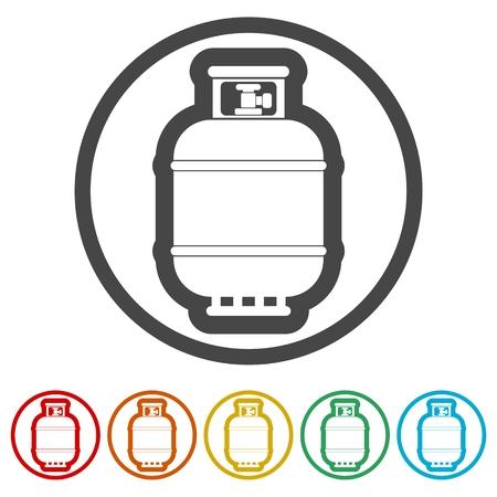 Icône de bouteille de gaz, icône de réservoir de gaz dans un style plat, 6 couleurs incluses