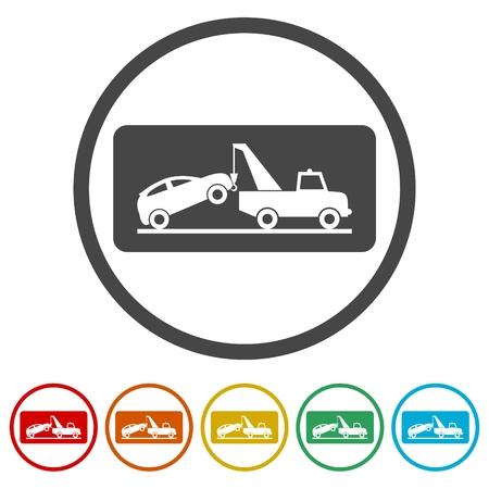 Dépanneuse avec voiture dessus, illustration de style plat, service de remorquage de voiture, 6 couleurs incluses