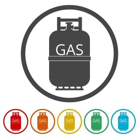 Gas bottle icon, Gas tank icon in flat style, 6 Colors Included