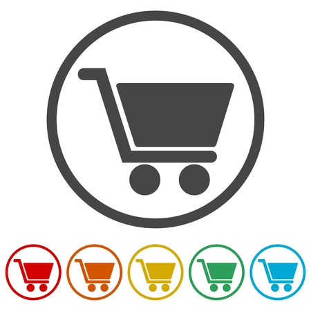 Shopping icon, Shopping cart icon, 6 Colors Included