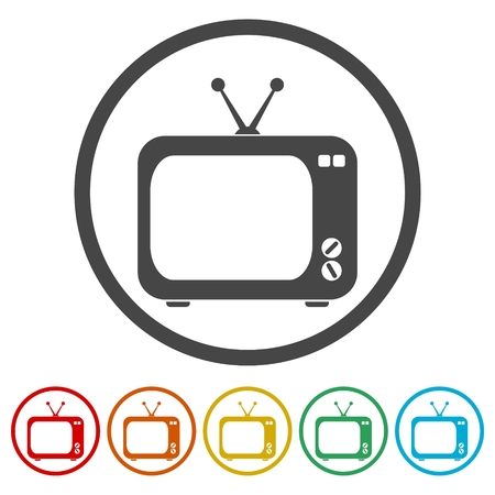 Vector retro TV icon, 6 Colors Included 일러스트