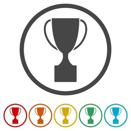 Trophy sign icon, Trophy Cup Flat Icon, 6 Colors Included Stock Illustratie