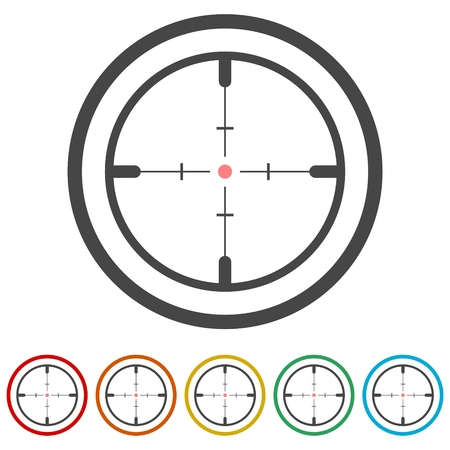 Hunting sight targets, Crosshair icon, 6 Colors Included