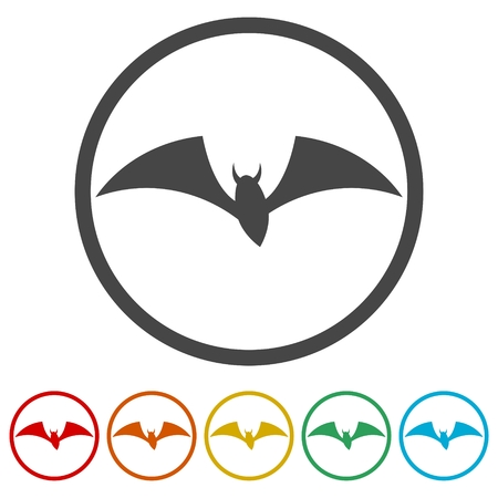 Bat Silhouette, Bats icons set, 6 Colors Included