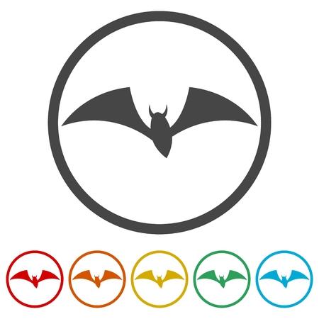 Bat Silhouette, Bats icons set, 6 Colors Included