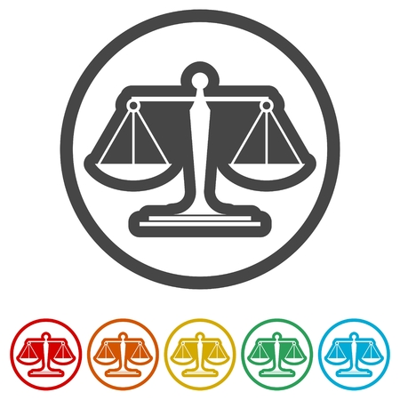 Scales of justice flat icon for apps and websites, 6 Colors Included