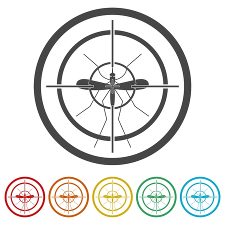 Mosquito target, 6 Colors Included Stock Vector - 116824456