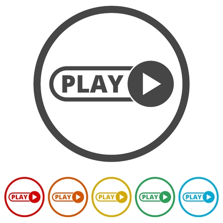 Button Play Video, 6 Colors Included Illustration