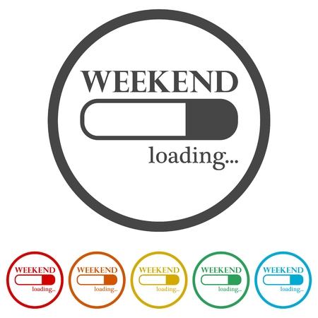 Weekend di caricamento, concetto di caricamento del fine settimana, 6 colori inclusi