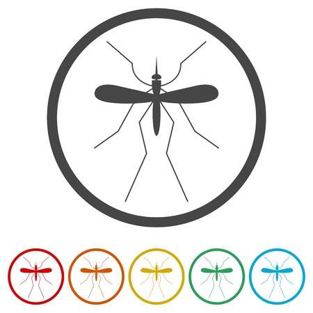 Mosquito icon, 6 Colors Included Stock Vector - 116825004