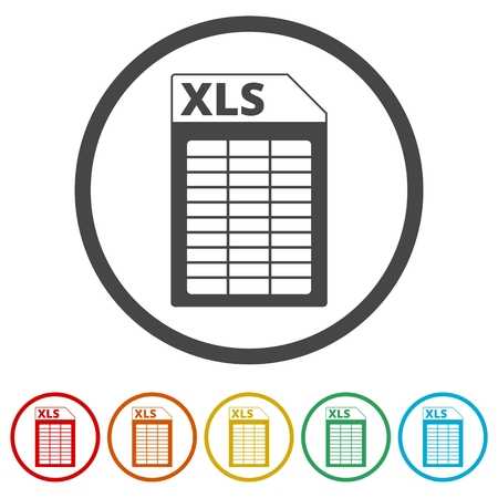 The XLS icon, 6 Colors Included