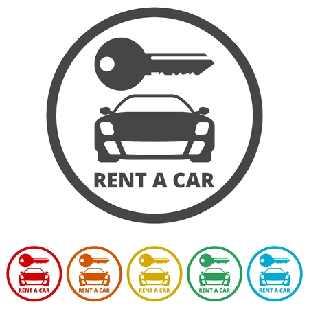 Car key, Car rental icon, 6 Colors Included