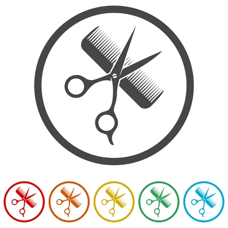 Comb and scissors icon, 6 Colors Included
