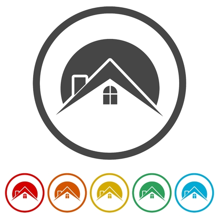 Home roof icon, Real estate symbol, 6 Colors Included