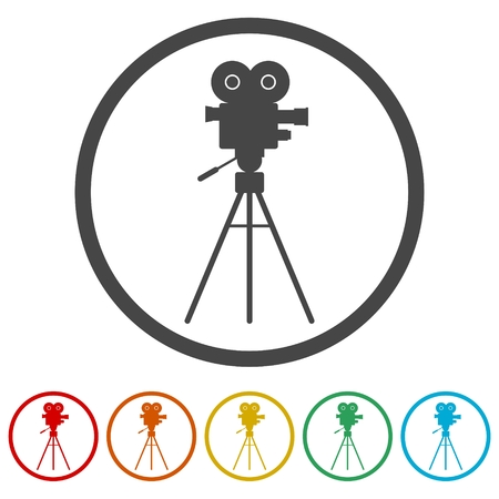 Cinema camera icon, 6 Colors Included 일러스트