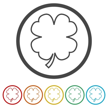 Simple Clover with four leaves, 6 Colors Included Illustration