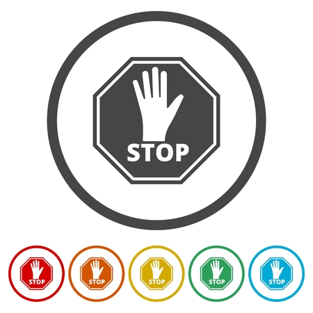 No entry sign, Stop icon, 6 Colors Included