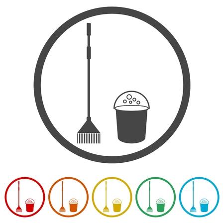 Ensemble d'icônes de nettoyage, icône de nettoyage, 6 couleurs incluses