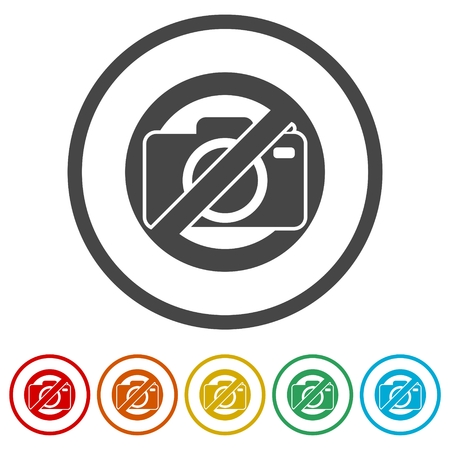 No photo camera sign, No cameras allowed, 6 Colors Included