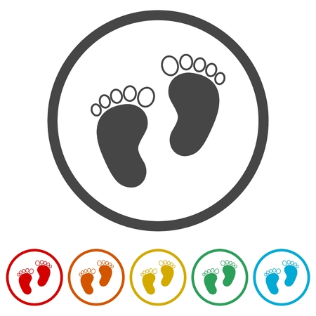 Two baby footprint, 6 Colors Included