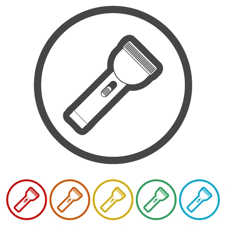 Flashlight icon, light flash, 6 Colors Included 向量圖像