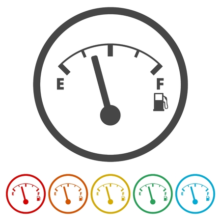 Fuel gauge icon, Full gas tank, 6 Colors Included