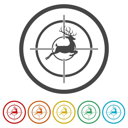 Hunting Season with Deer in gun sight, 6 Colors Included