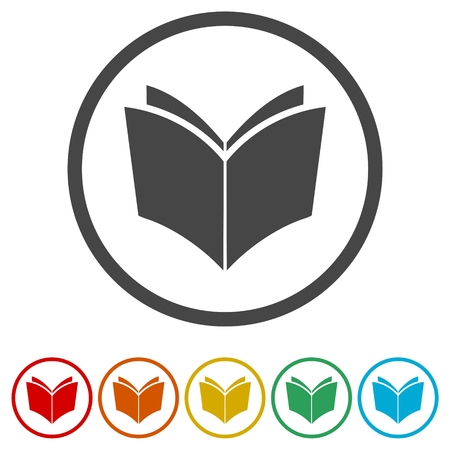 Book vector icon, 6 Colors Included