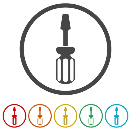 Screwdriver vector icon, 6 Colors Included
