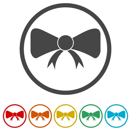 Vector Bow icon, Set of gift bows with ribbons, 6 Colors Included Illusztráció