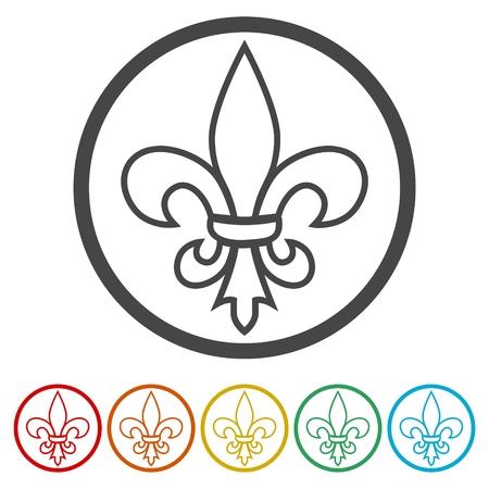 Fleur de lis icon, Fleur-de-lis sign, 6 Colors Included Vettoriali