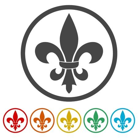Fleur de lis icon, Fleur-de-lis sign, 6 Colors Included Illustration