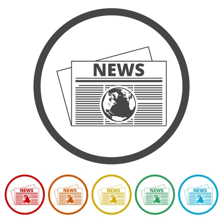 Newspaper icon, News icon, 6 Colors Included