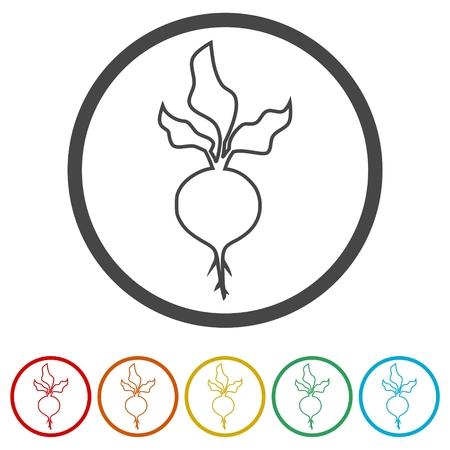 Sugar beet icon, 6 Colors Included Illusztráció