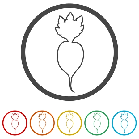 Sugar beet icon, 6 Colors Included Illusztráció