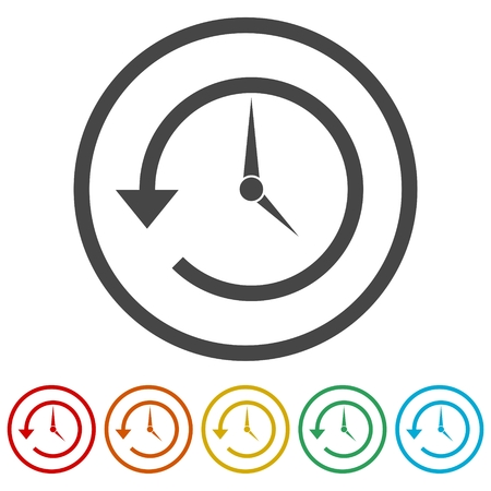 Time back icon, History icon, 6 Colors Included 向量圖像