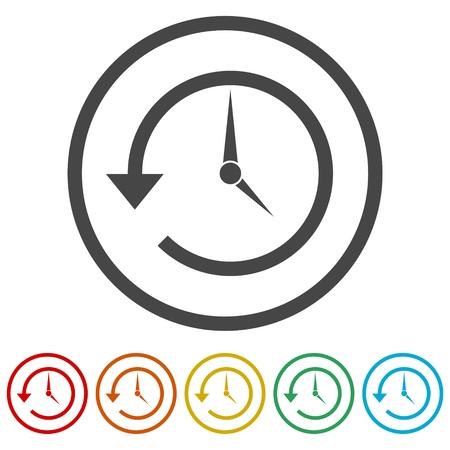 Zeit-zurück-Symbol, Verlaufssymbol, 6 Farben enthalten