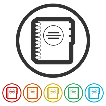 Address book icon, 6 Colors Included Illustration