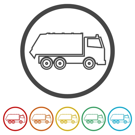 Recycle truck icon, Garbage Truck, 6 Colors Included