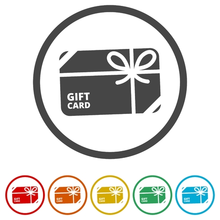 Shopping gift card icon, Gift card Icon, 6 Colors Included
