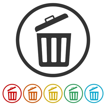 Trash bin or trash can symbol icon, 6 Colors Included