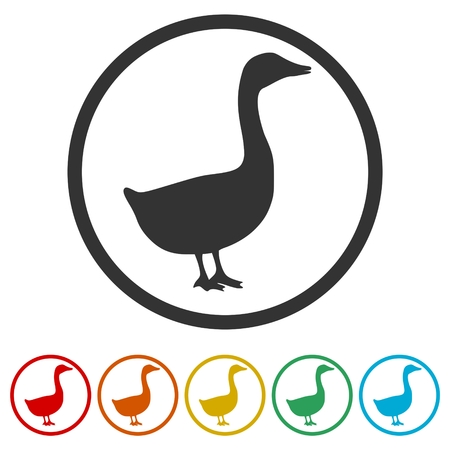 The silhouette of a goose or duck icon, 6 Colors Included