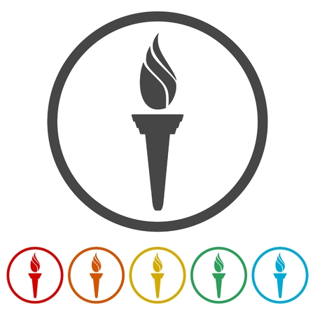 Torch icon, 6 Colors Included Ilustração