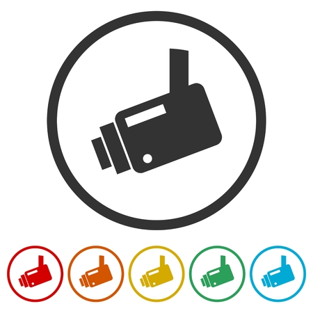 Security camera icon, 6 Colors Included Çizim