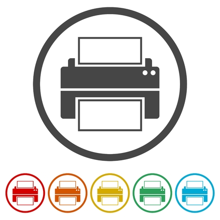 Printer vector icon, 6 Colors Included