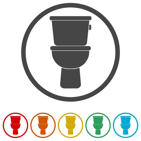 Toilet bowl icon, 6 Colors Included Ilustração