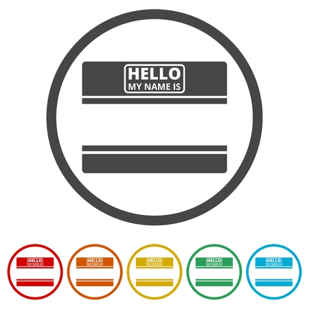 Hello my name card, with Copy Space icons set, 6 Colors Included
