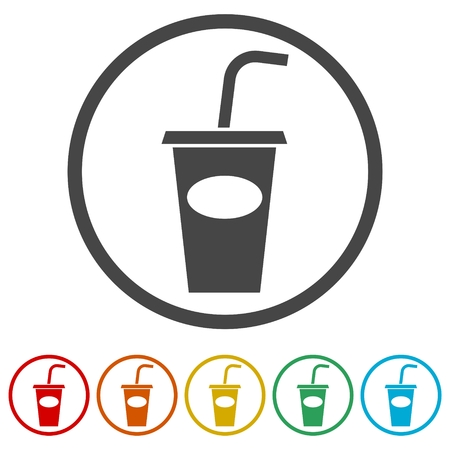 Soda Icon, Drink icon, Disposable Cup, 6 Colors Included Ilustrace